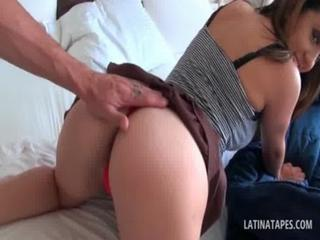 Big boobed latina hottie swallowing cock in POV