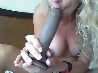 sexy 45yo milf rides big black dildo and deep throat