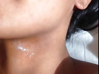 Cumshot on beautiful woman