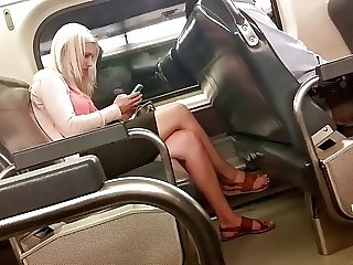 Candid Blonde Feet and Legs on Train