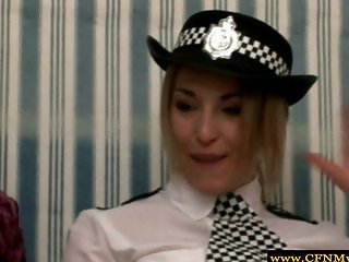 Rough femdom police babes wanking dude