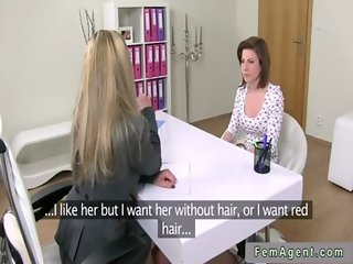 Female agent with strapon bangs redhead babe