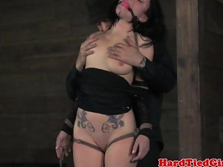 Nipple punished tied up sub in pain