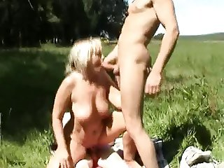 Amateur - Blond Mature Outdoor MMF Threesome CIM Facials