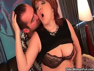 Chubby grandma gets fucked and takes a warm facial