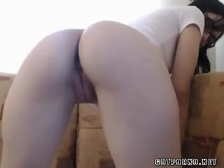 Sexy student with glasses fingers pussy on cam