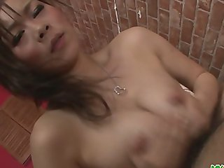 Ren Mizumori in bikini giving blowjob and coc