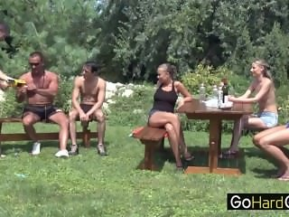 Three Couple Outdoor Garden Fuck Party 4