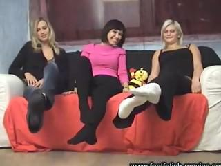 3 girls in black and white socks