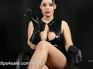 Smoking in Black Leather - Gloves & Corset