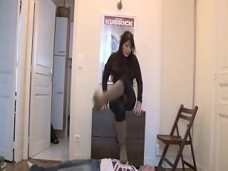 French Mistress Stephanie trampling in boots