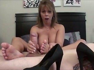 sweaty footjob and cum inside her shoe