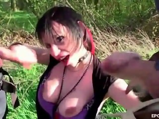 Milf slut brunette sucking group cocks outdoo