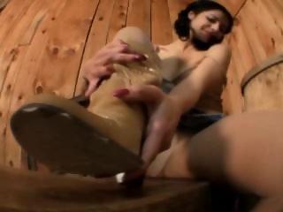 Crazy Angela rips her pantyhose
