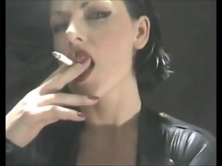 Deliciously Addicted Smoking Fetish Boss Bitch In Latex - PVC