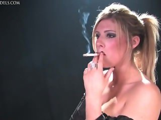 smoking in black basque