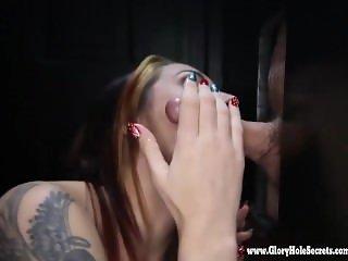 Gloryhole Secrets fit redhead swallows loads of cum 2