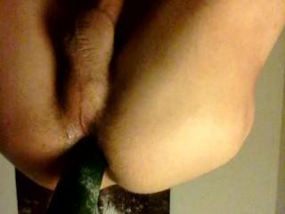 Pounding my ass with Cucumber and fingers c:
