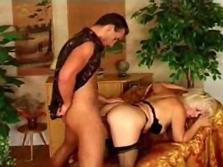 Horny nympho granny rides her toyboy