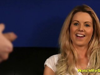 Shy English Babe Watches Guy Wank During Interview