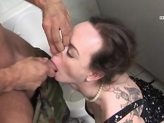 German Piss Slut Dominated in the Restroom