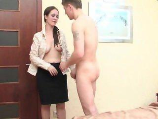 Young guy fucks brunette milf in bedroom
