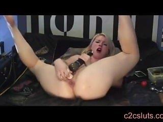 Blonde anal dildo