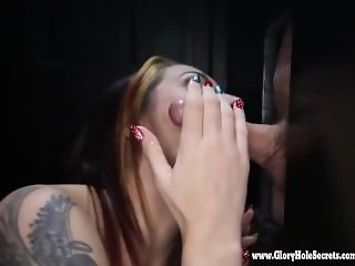 Gloryhole Secrets fit redhead loving mouthfulls of cum 2