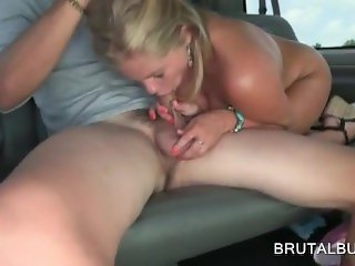 Aroused amateur mouth fucking starved dick in bus