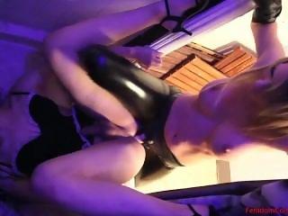 Strap on fucking her sissy slave