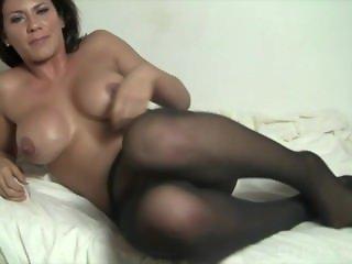 Leena Masturbates in Wolford Pantyhose