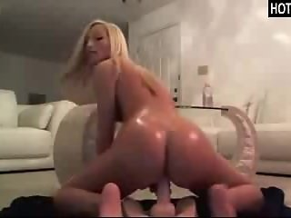 Super Sexy Oiled Up Blonde Teen Dildo Ride