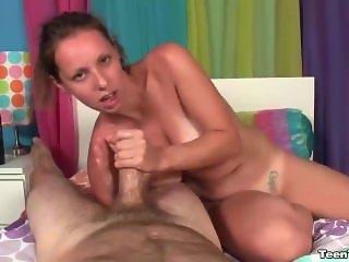Naughty babe topless handjob