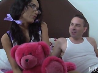 Cheerleader with pigtails rides boyfriend's cock as after school treat!