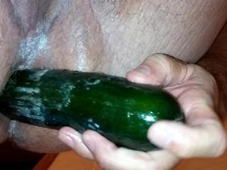 Deeper cucumber in husbands ass