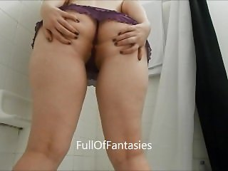 Pissing in Sexy Purple Thong Skirt