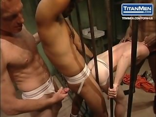 Wet and Messy Interracial Prison Group Anal