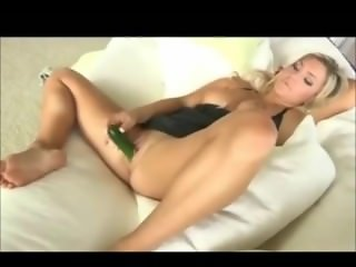 Blonde fucks herself with banana and cucumber