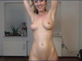 Sexy blonde oil and cream cum. Helga LIVE on 1fuckdate.com