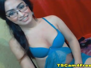 Amazing Nerdy Asian Tranny Jerking off