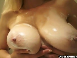 Soccer mom in stockings shows big . Germaine from 1fuckdate.com
