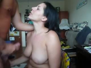 Thick gal gets cum on her big tits. Misha from 1fuckdate.com