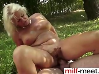 horny granny get fucked in the garden - Fuck from MILF-MEET.COM