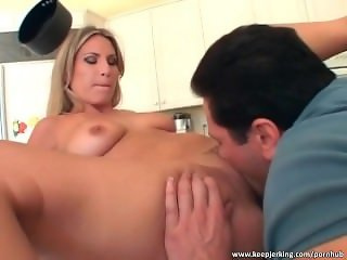 Harmony Rose mouth fuck in the kitchen