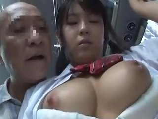 Young Japanese Schoolgirl Seduced by Old Pervert in the Bus