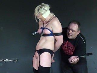 Blonde slaveslut Chaos tit tortured mercilessly and blindfolded amateur