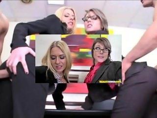 Female Boss Fucks through pants