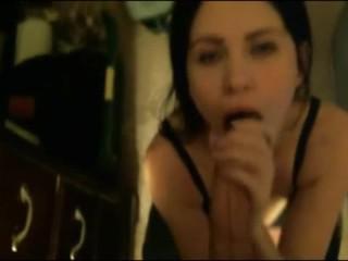 Brunette Beauty sensual blowjob and facial