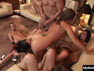 Lea Lexus put on a sexy peach bikini for an amazing group sex
