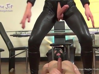 Shemale Fucked in Catsuit